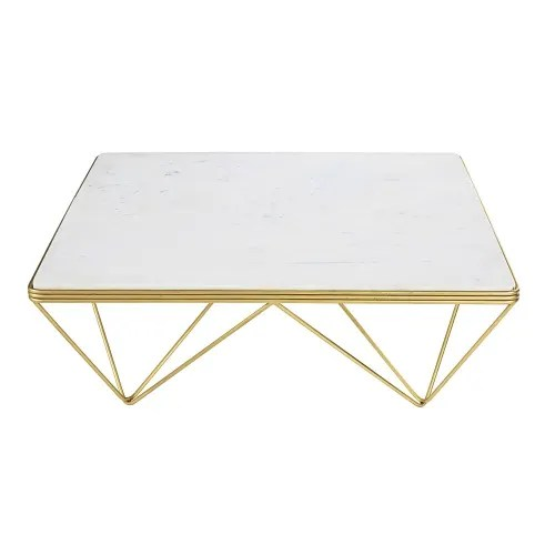 square marble and gold metal coffee table maisons du monde
