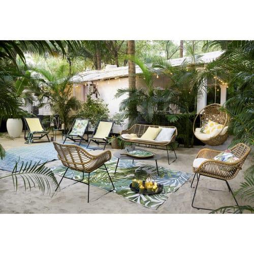 strandtuch aus frotee samt bedruckt mit tropischem motiv 100x180 maisons du monde