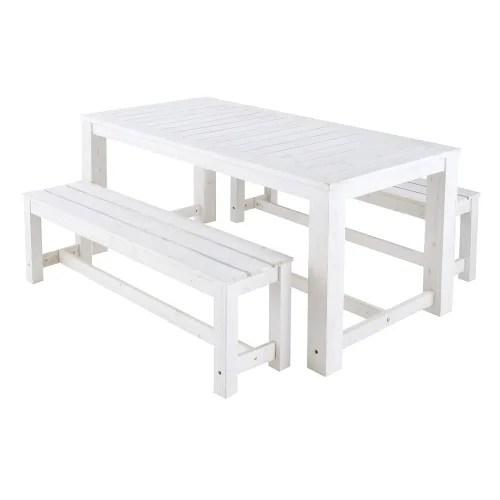 table 2 bancs de jardin en bois blanc l 180 cm maisons du monde