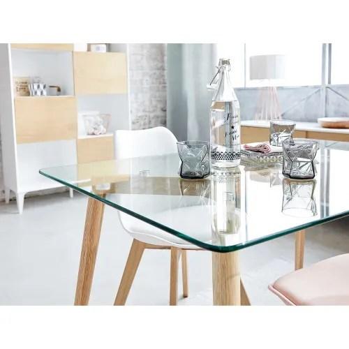 table a manger en verre et chene 6 personnes l120 maisons du monde