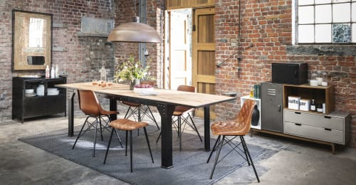 table a manger extensible 8 a 12 personnes en manguier et metal l200 280 maisons du monde