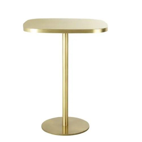 table a manger haute en metal coloris laiton 1 2 personnes l40 maisons du monde