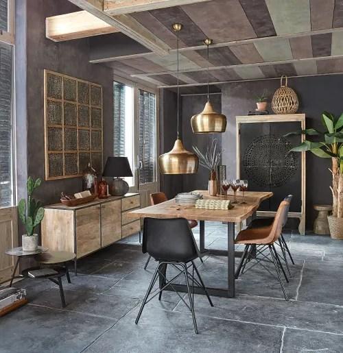table a manger indus en acacia et metal noir l200 maisons du monde