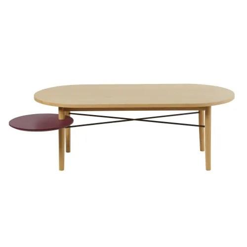 table basse avec plateau rond pivotant bordeaux maisons du monde
