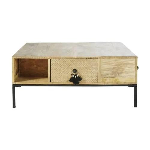 table basse carree 4 tiroirs en manguier massif et metal noir maisons du monde