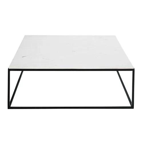 table basse carree en marbre blanc et metal noir maisons du monde