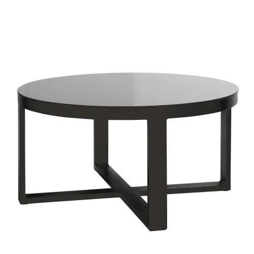 table basse de jardin ronde en aluminium et verre trempe noir maisons du monde