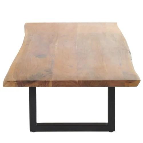 table basse en acacia et metal noir maisons du monde