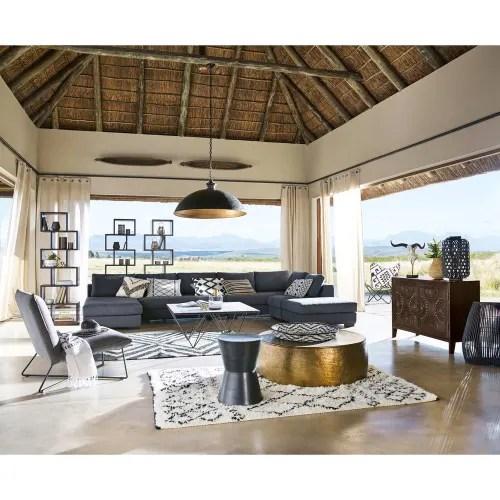 table basse en aluminium martele dore maisons du monde