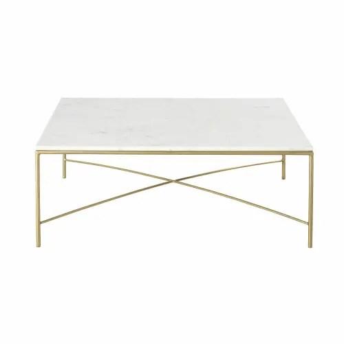 table basse en marbre blanc et metal coloris laiton maisons du monde