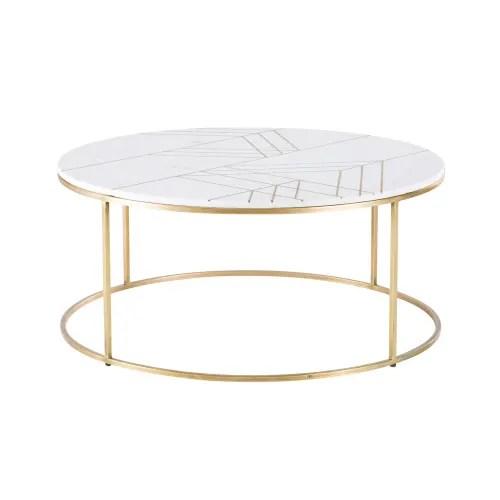 table basse ronde en marbre blanc et fer dore maisons du monde
