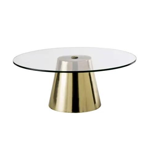 table basse ronde en verre trempe et metal coloris laiton maisons du monde