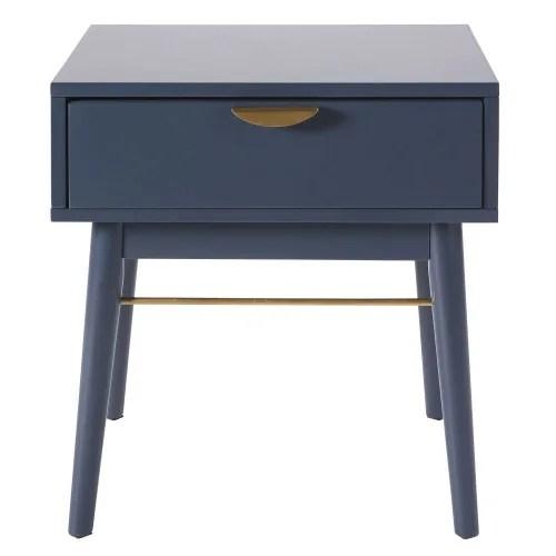 table de chevet 1 tiroir bleu fonce maisons du monde