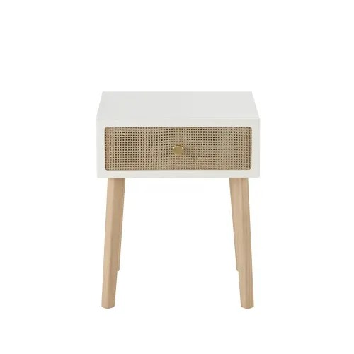 table de chevet 1 tiroir en pin et rotin tresse maisons du monde