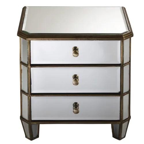 table de chevet 3 tiroirs en metal et miroir maisons du monde