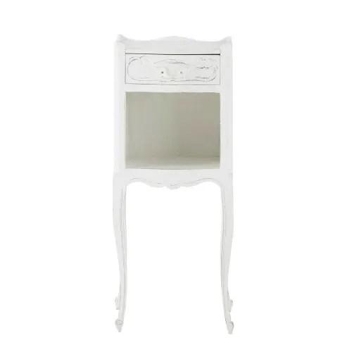 table de chevet avec tiroir en manguier blanche l 30 cm maisons du monde