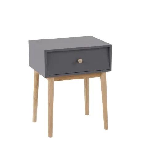 table de chevet vintage 1 tiroir gris anthracite maisons du monde