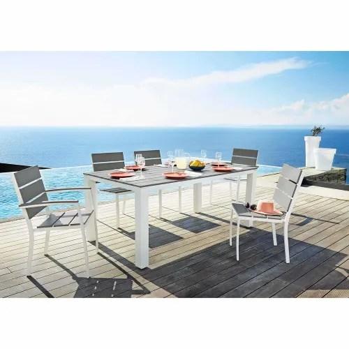 table de jardin 6 personnes en aluminium et composite l180 maisons du monde