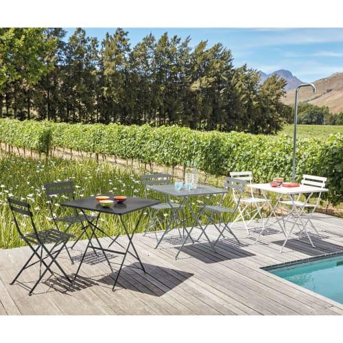 table de jardin pliante en metal epoxy gris 2 personnes l70 maisons du monde