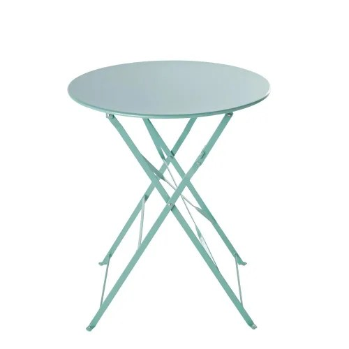 table de jardin ronde pliante en metal bleu turquoise d58 maisons du monde