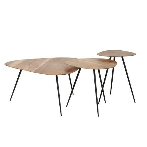 tables gigognes en acacia et metal noir maisons du monde