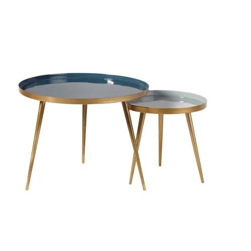 tables gigognes en metal bleu et dore maisons du monde