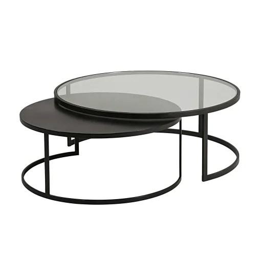 tables gigognes en verre trempe et metal noir maisons du monde