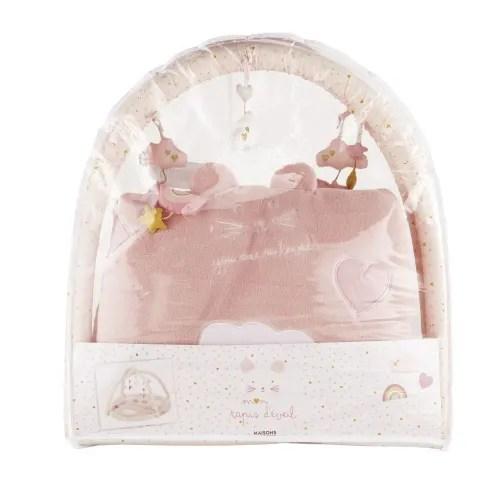 tapis d eveil bebe rond en coton rose et dore d90 maisons du monde