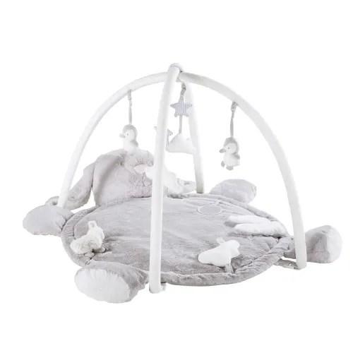 tapis d eveil bebe rond lapin gris d90 maisons du monde