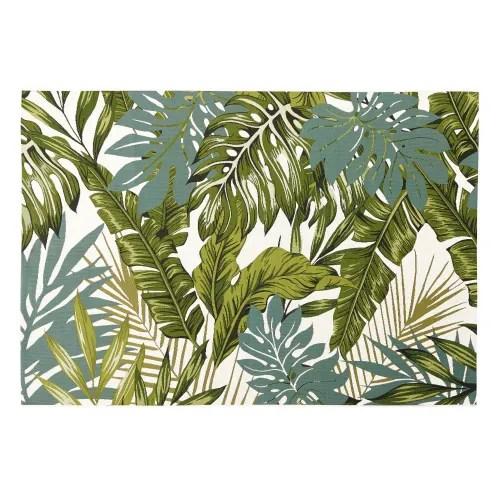 tapis d exterieur blanc imprime feuillages verts 140x200 maisons du monde