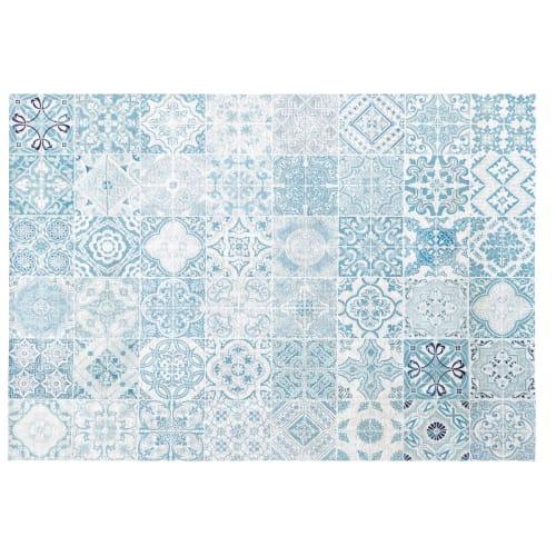 tapis d exterieur blanc motifs carreaux de ciment bleus 155x230 maisons du monde