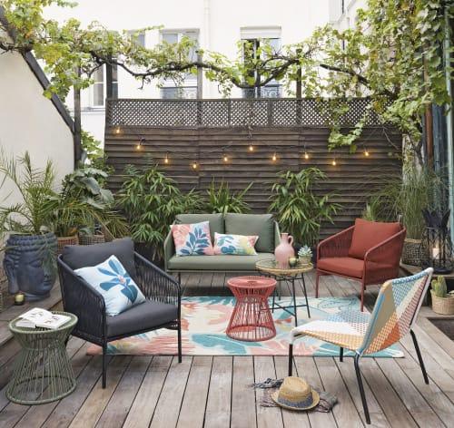 tapis d exterieur en polypropylene tufte motif vegetal multicolore 160x230 maisons du monde