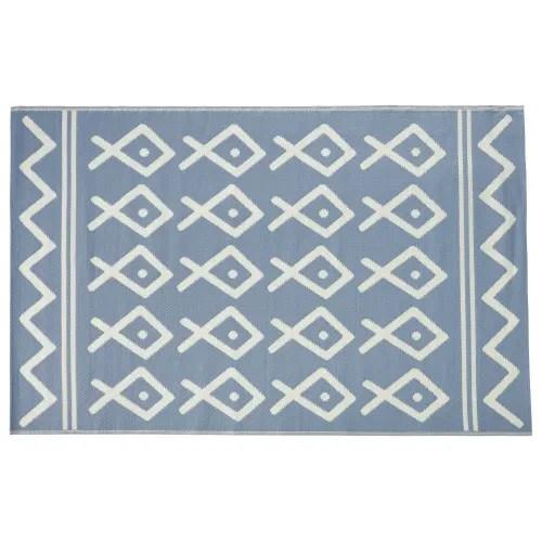 tapis d exterieur reversible en polypropylene motifs graphiques bleus et ecrus 120x180 maisons du monde
