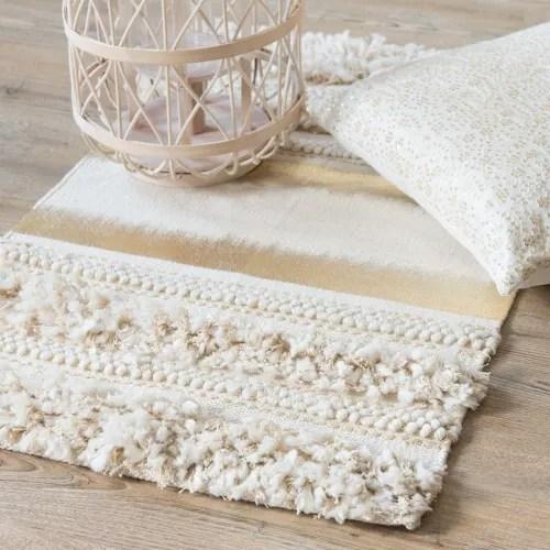 tapis en coton avec tissage imprime dore 50x80 maisons du monde