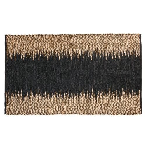 tapis en cuir de vache noir et jute beige 90x150 maisons du monde