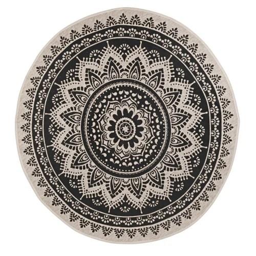 tapis en jute et coton recycle gris anthracite a motifs d180 maisons du monde
