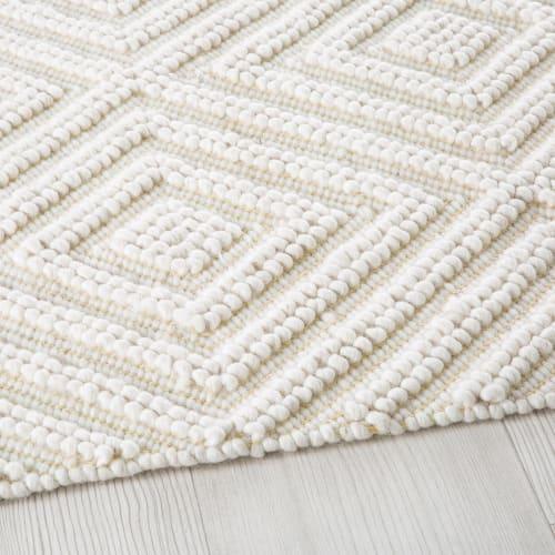 tapis en laine et coton ecru motifs graphiques 160x230 maisons du monde