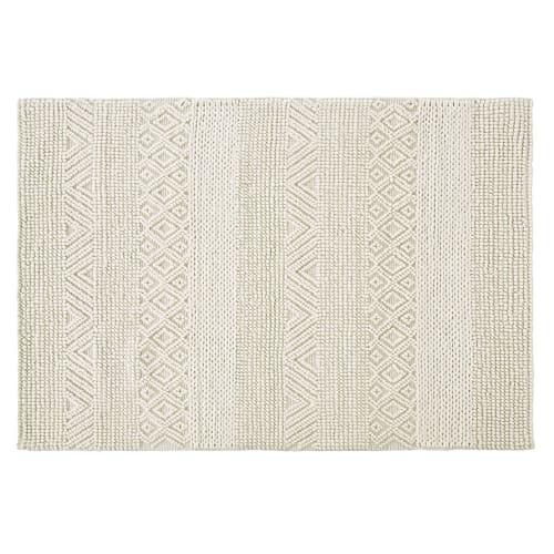 tapis en laine et coton ecrus nœuds en relief 140x200 maisons du monde