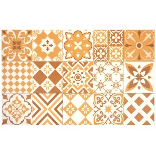 tapis en vinyle motifs carreaux de ciment ocre et blancs 50x80 maisons du monde