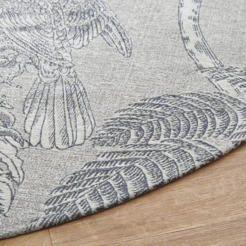 tapis rond tisse jacquard beige imprime gris anthracite d200 maisons du monde