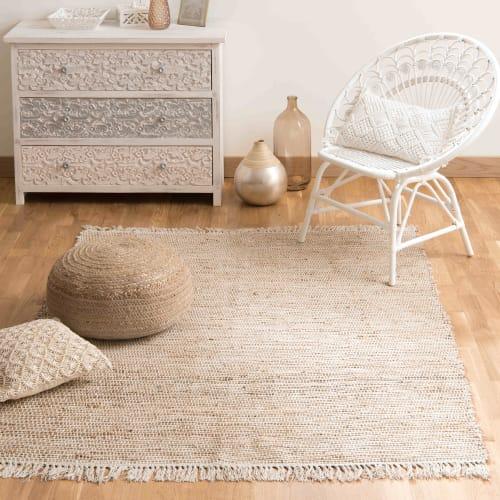 tapis tresse en coton et jute 200 x 300 cm maisons du monde