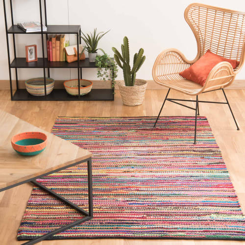 tapis tresse en coton multicolore 140 x 200 cm maisons du monde