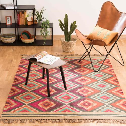 tapis tresse en laine multicolore 160 x 230 cm maisons du monde