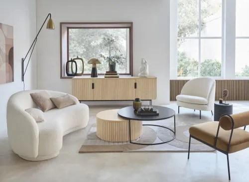 tapis tufte a la main beige blanc et marron motifs arches 140x200 maisons du monde