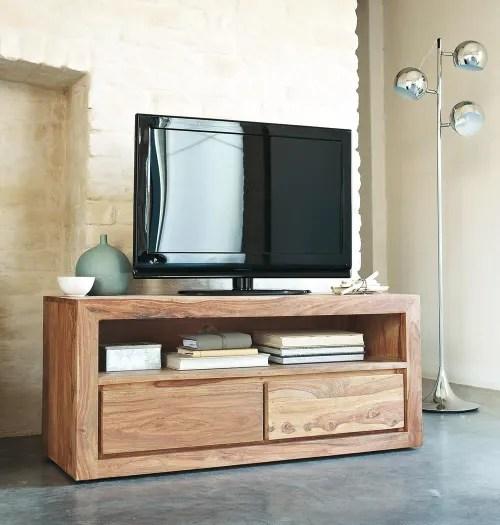 tv lowboard mit 2 schubladen aus massivem sheeshamholz maisons du monde