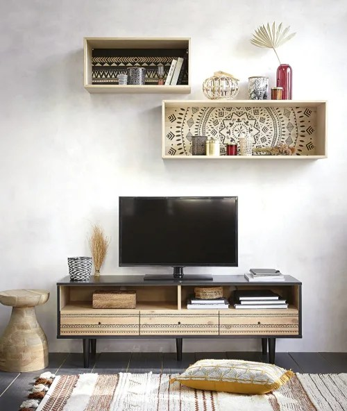 Viviennevandevelde more from this author. Two Tone 3 Drawer Tv Unit With Painted Print Mayana Maisons Du Monde
