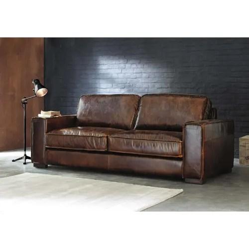 vintage sofa 3 sitzer aus leder braun maisons du monde