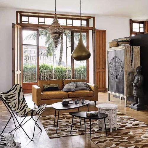 vintage sofa 3 sitzer aus leder camelfarben maisons du monde