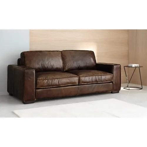 vintage sofa 3 sitzer aus leder schwarz maisons du monde