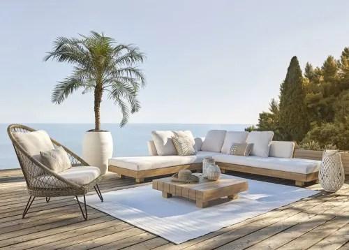 Tavolo basso da giardino in vetro temperato e resina intrecciata l 76 cm. White Woven Lantern Zanzibar Maisons Du Monde